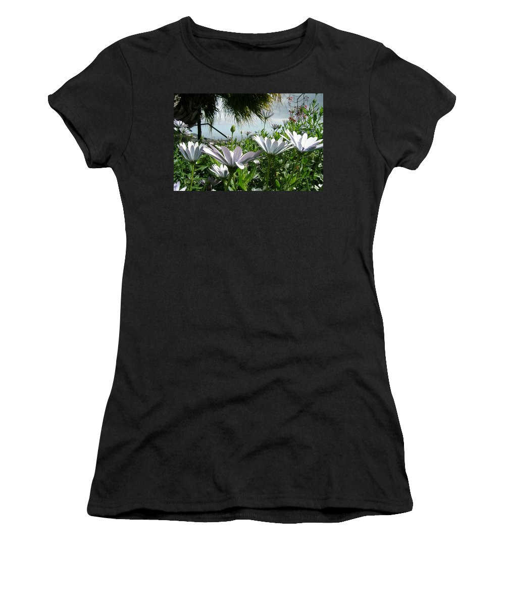 Landscape Women's T-Shirt (Athletic Fit) featuring the photograph Madeira Daisies by Valerie Ornstein