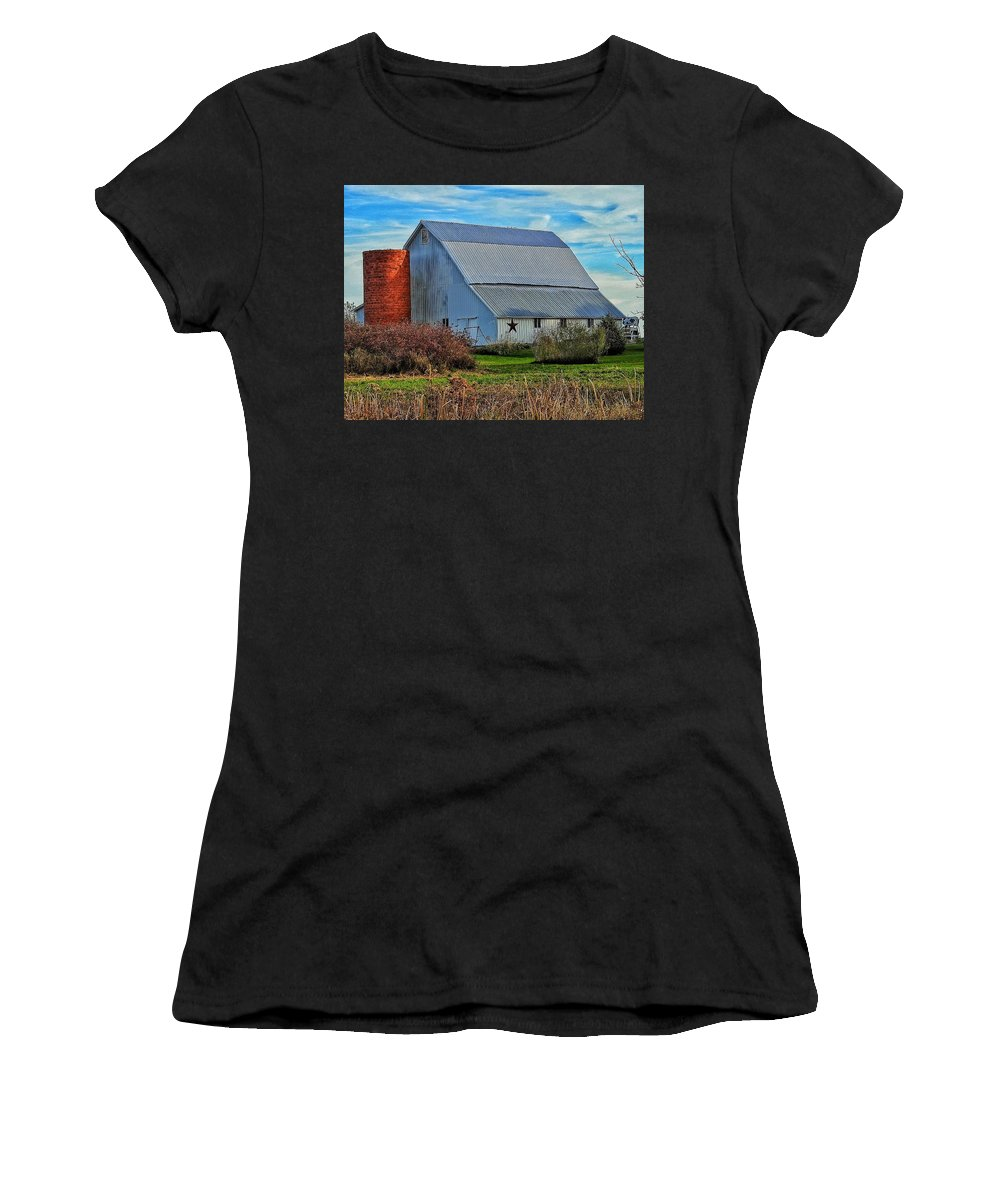 Women's T-Shirt (Athletic Fit) featuring the photograph Madison County Barn Love by Renee Longo