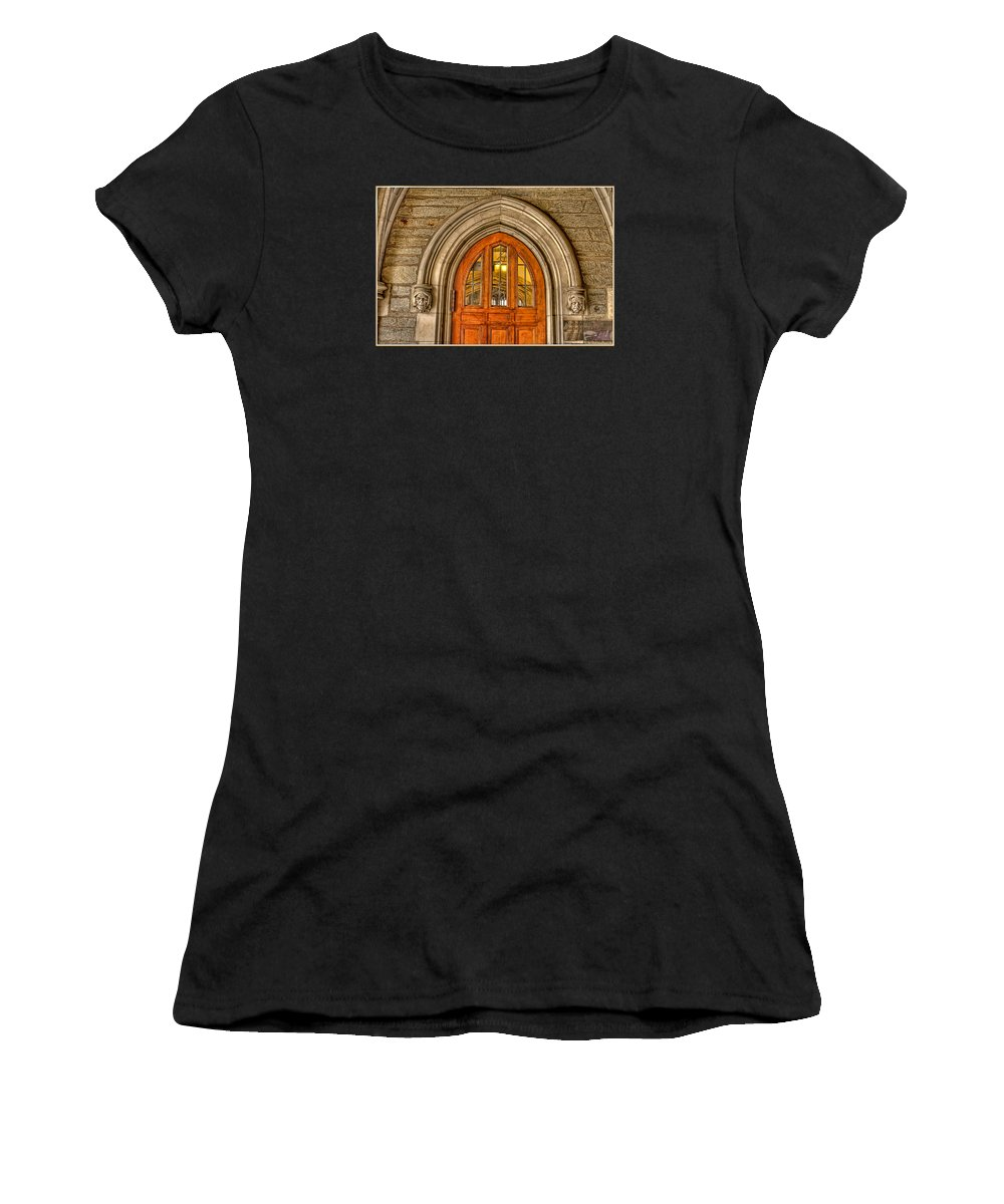 Current Women's T-Shirt (Athletic Fit) featuring the photograph Madison Hall Rockefeller College Princeton University Gothic Door by Geraldine Scull