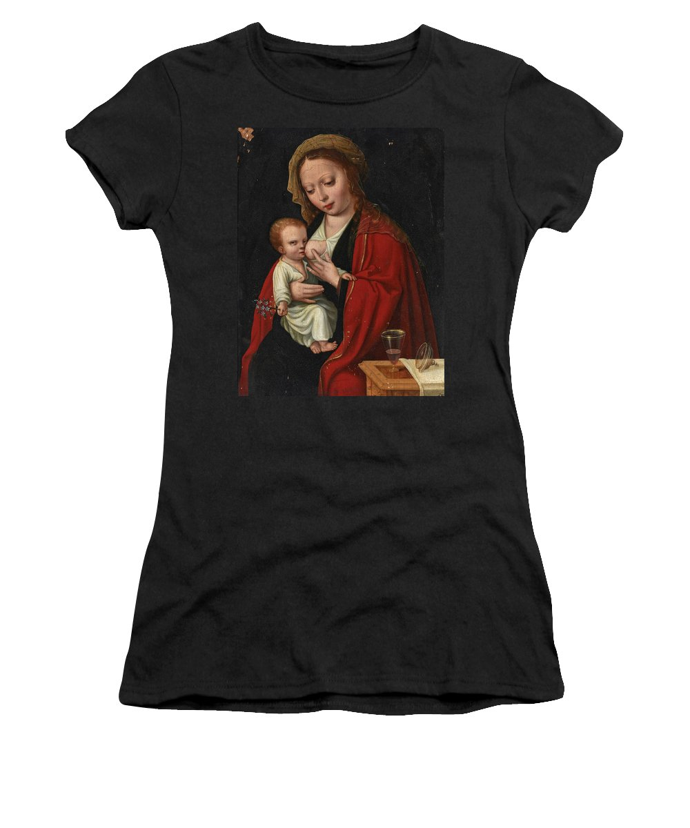 Attributed To Ambrosius Benson Women's T-Shirt (Athletic Fit) featuring the painting Madonna And Child by Attributed to Ambrosius Benson