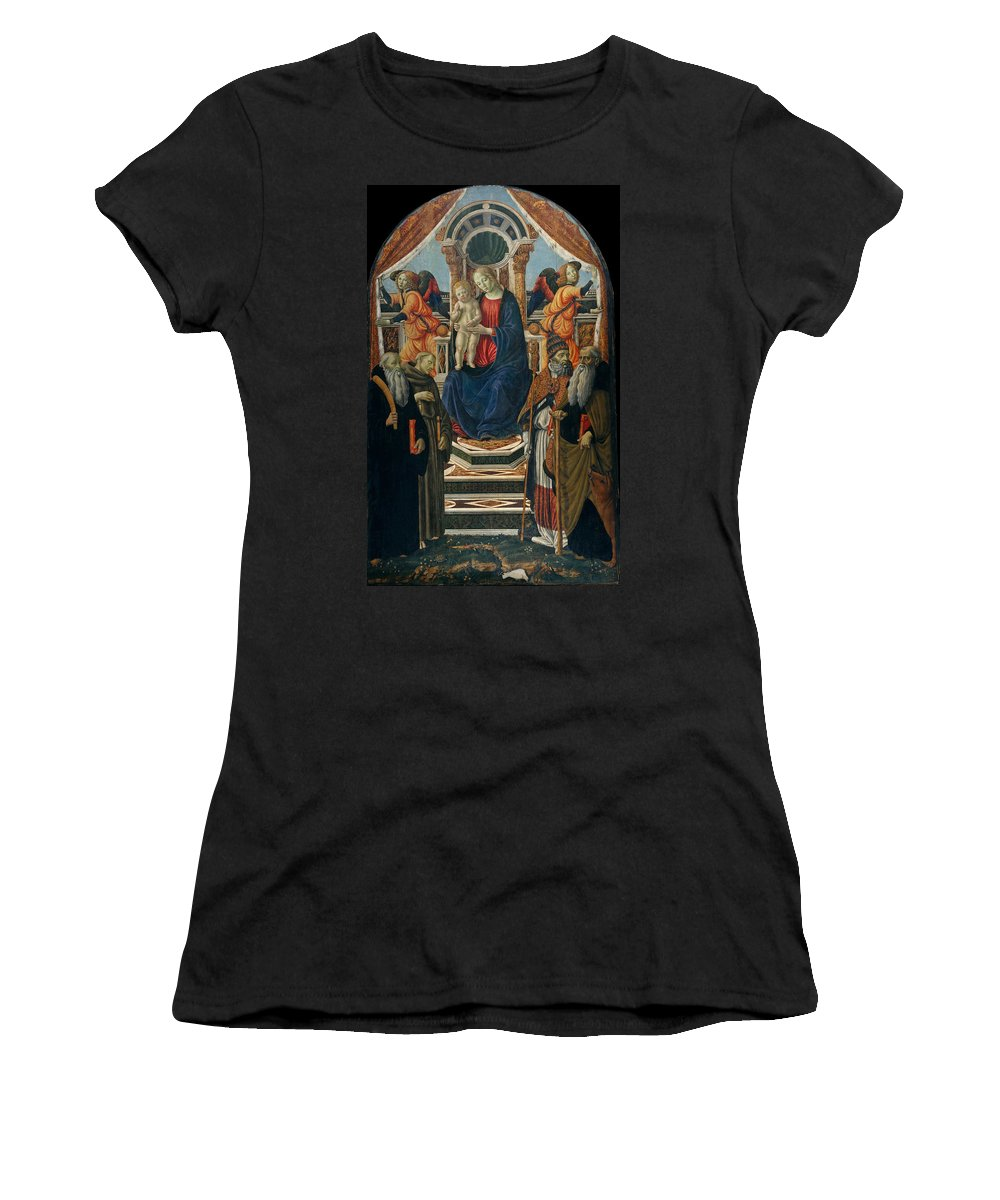 Francesco Botticini Women's T-Shirt (Athletic Fit) featuring the painting Madonna And Child Enthroned With Saints And Angels by Francesco Botticini