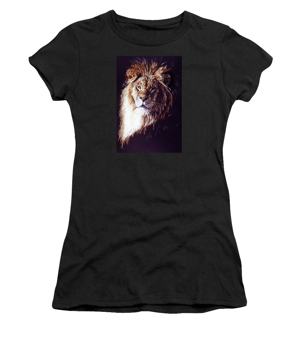 Lion Women's T-Shirt (Athletic Fit) featuring the drawing Maestro by Barbara Keith
