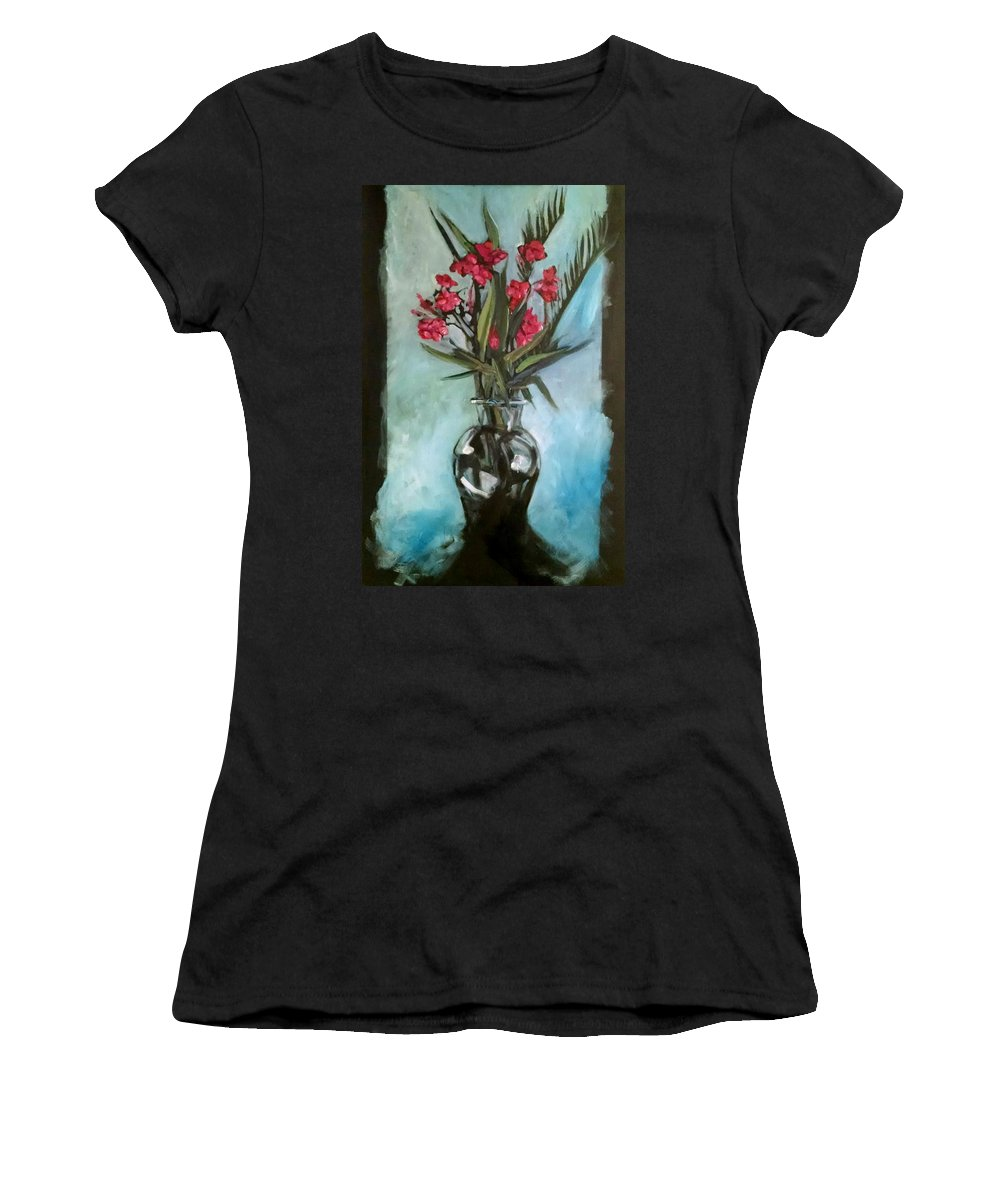 Women's T-Shirt (Athletic Fit) featuring the painting Magenta Oleander by H R Kamins