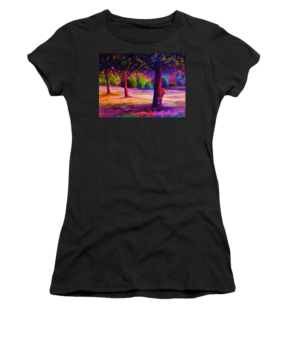 Landscape Women's T-Shirt (Athletic Fit) featuring the painting Magical Day In The Park by Carole Spandau