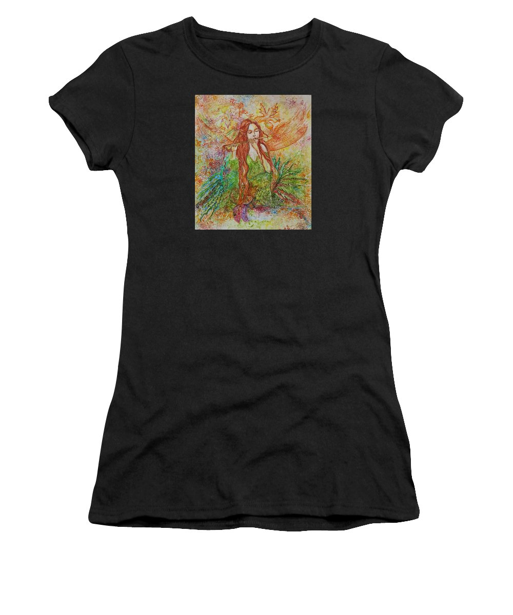 Song Women's T-Shirt featuring the painting Magical Song Of Autumn by Rita Fetisov