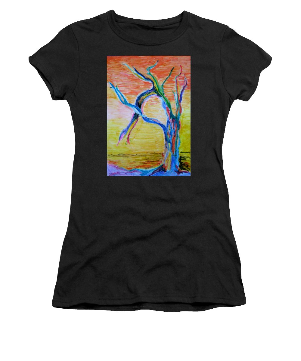 Abstract Painting Women's T-Shirt (Athletic Fit) featuring the painting Magical Tree by Suzanne Udell Levinger