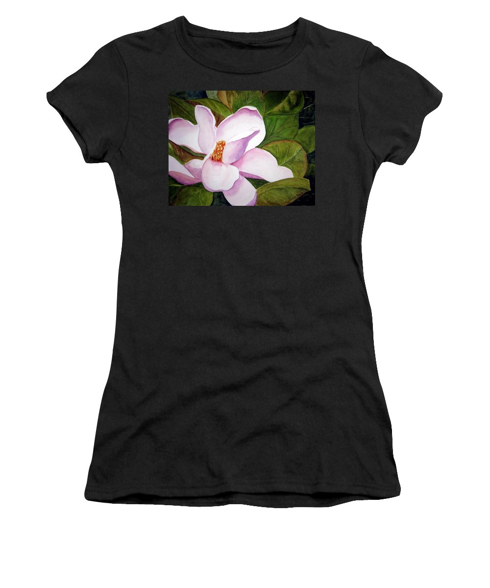 Flower Women's T-Shirt featuring the painting Magnolia Blossom by Julia RIETZ