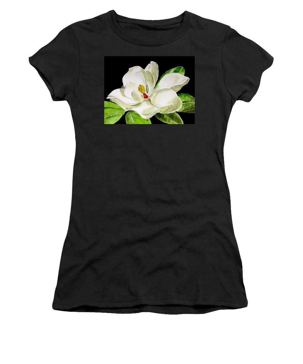 Magnolia Painting Women's T-Shirt featuring the painting Magnolia by Carol Blackhurst