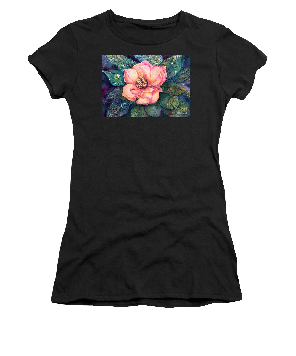 Flowers Women's T-Shirt featuring the painting Magnolia In The Evening by Norma Boeckler