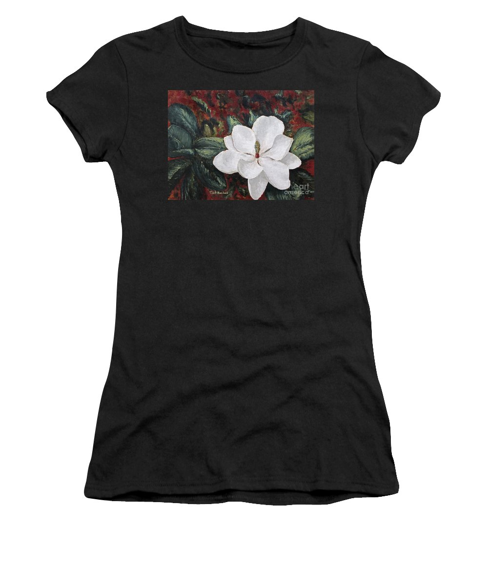 Flower Women's T-Shirt (Athletic Fit) featuring the painting Magnolia by Todd Blanchard