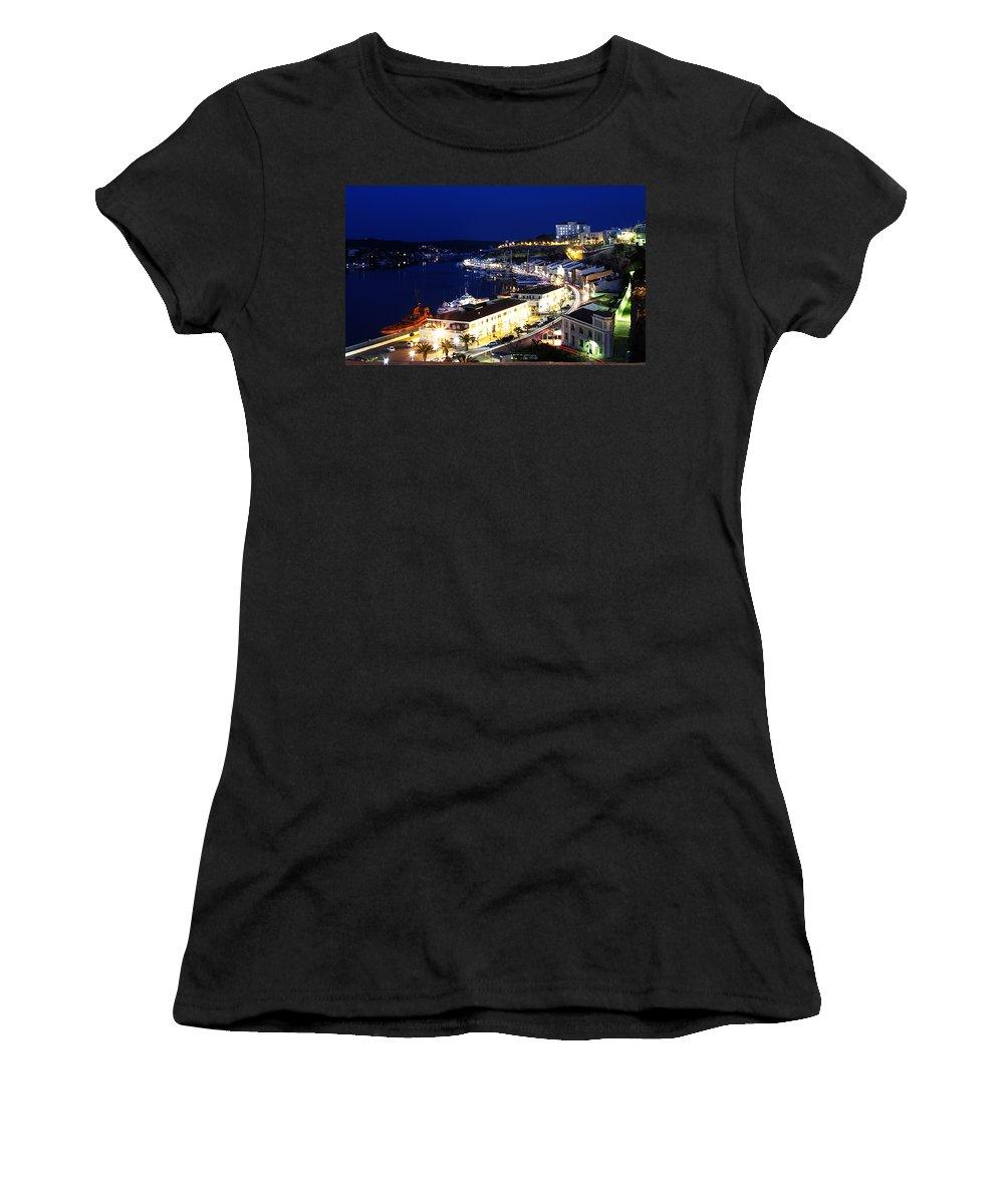 Mediterranean Women's T-Shirt featuring the photograph Mahon Harbour At Night by Pedro Cardona Llambias