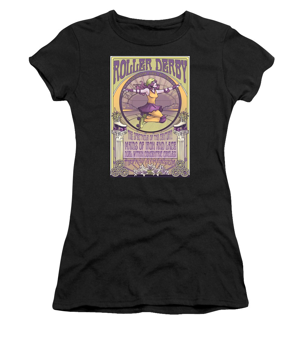 Roller Derby Women's T-Shirt featuring the digital art Maids Of Iron And Lace by Dani Kaulakis