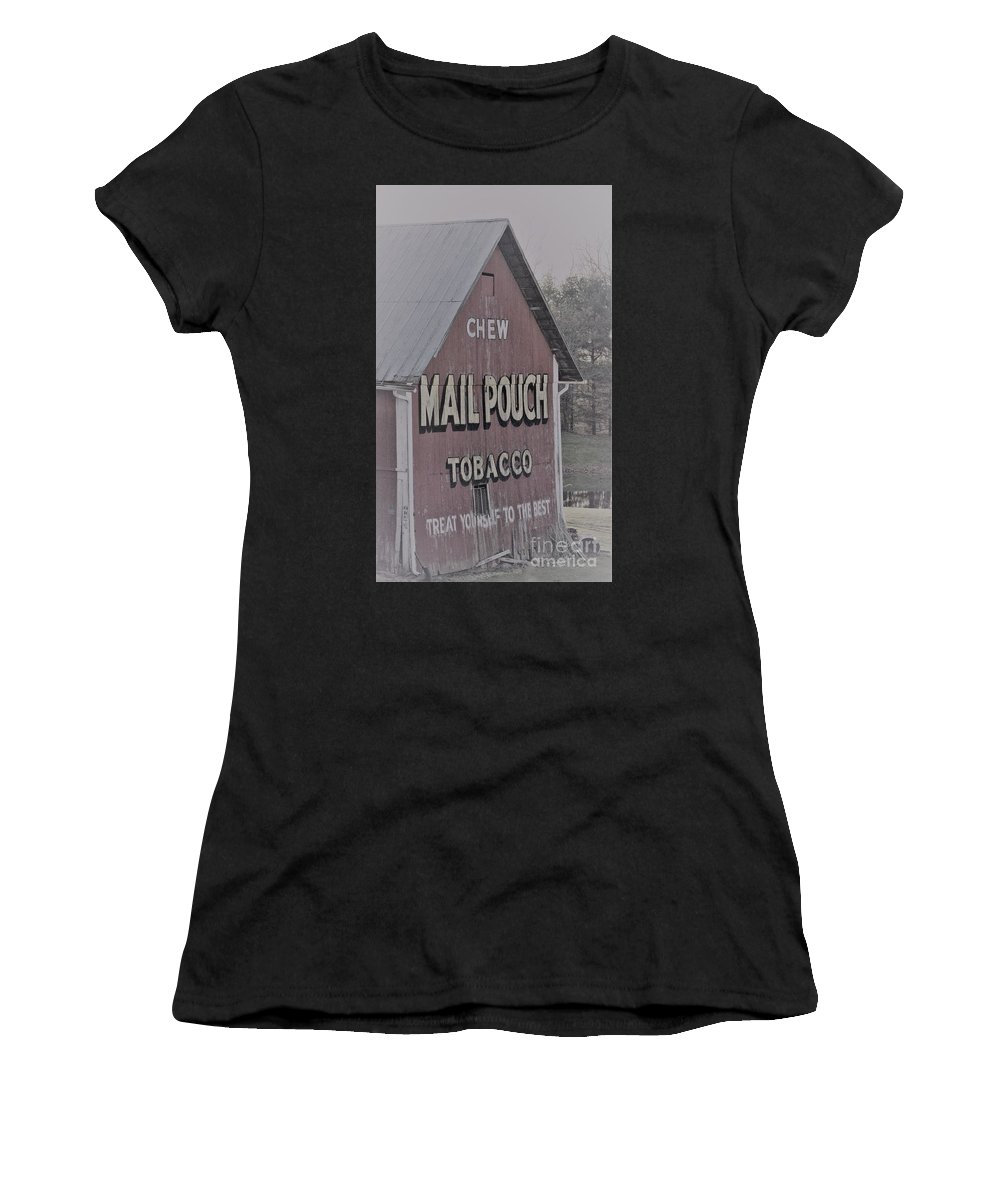 Barns Women's T-Shirt (Athletic Fit) featuring the photograph Mail Pouch Special 2 by Judy Carr