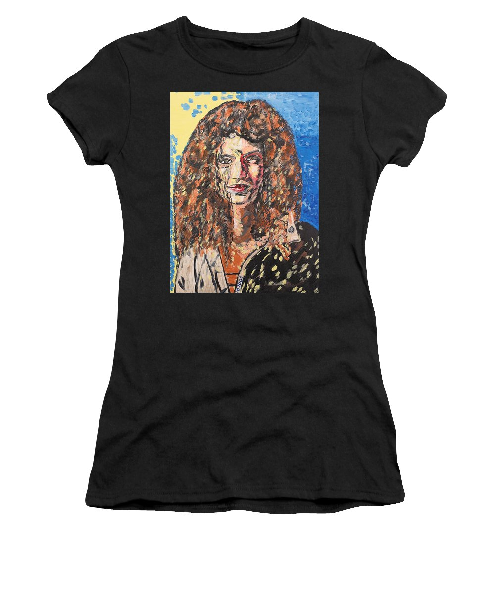 Human Women's T-Shirt (Athletic Fit) featuring the painting Maja by Valerie Ornstein