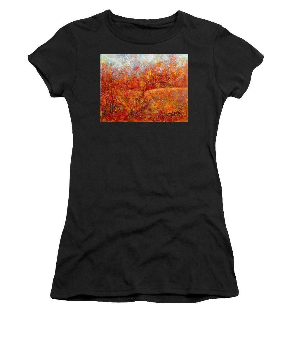 Autumn Women's T-Shirt featuring the painting Majestic Autumn by Natalie Holland