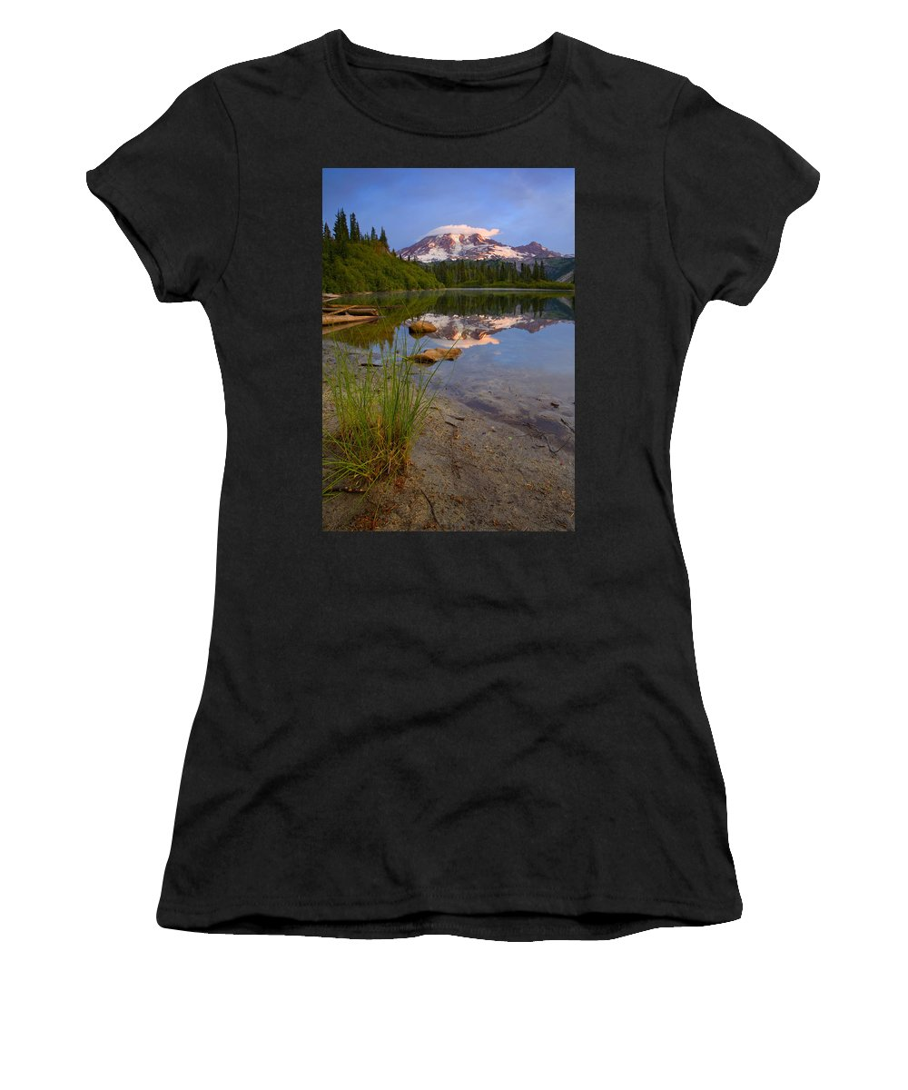 Mt. Rainier Women's T-Shirt (Athletic Fit) featuring the photograph Majestic Glow by Mike Dawson