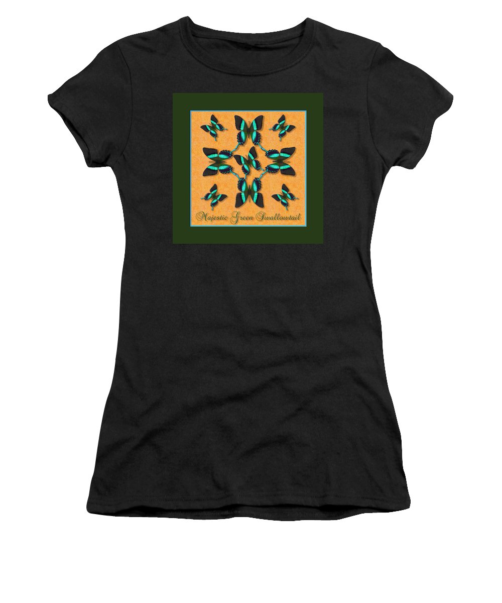 Butterfly Women's T-Shirt (Athletic Fit) featuring the photograph Majestic Green Swallowtail Wheel by Melissa A Benson