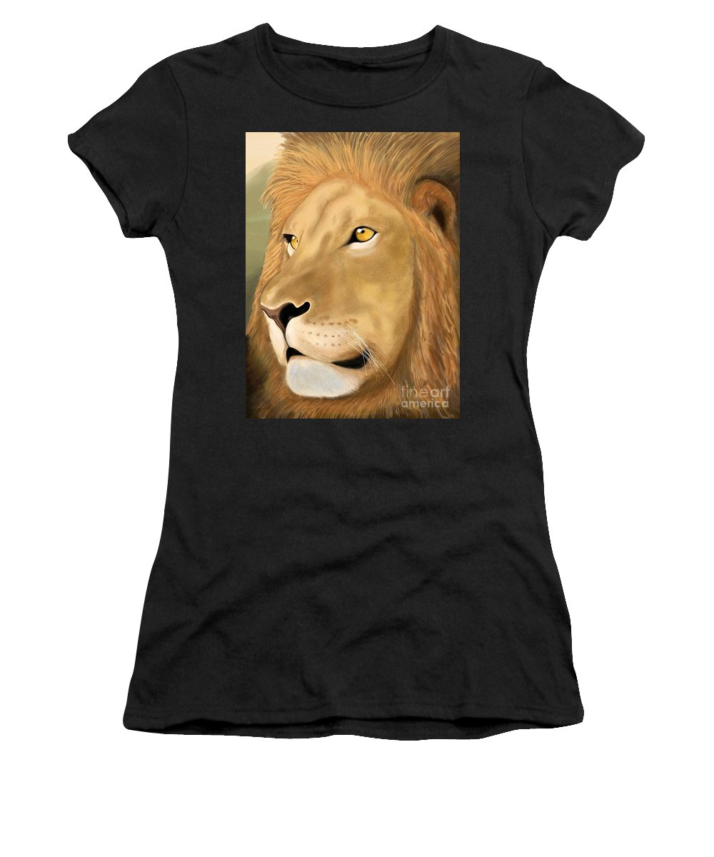 Wild Women's T-Shirt (Athletic Fit) featuring the digital art Majestic Lion by Gloria Dattolo
