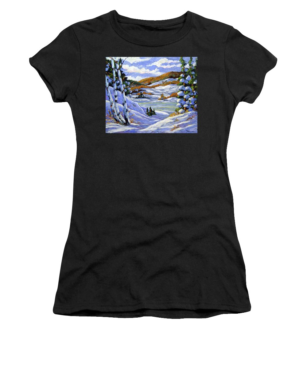 Art Women's T-Shirt featuring the painting Majestic Winter by Richard T Pranke