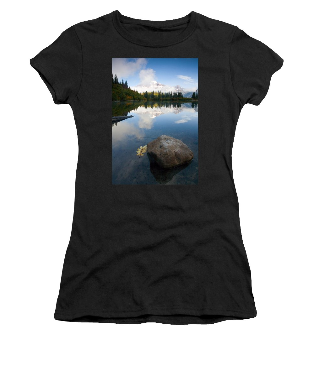 Rainier Women's T-Shirt (Athletic Fit) featuring the photograph Majesty Hidden by Mike Dawson