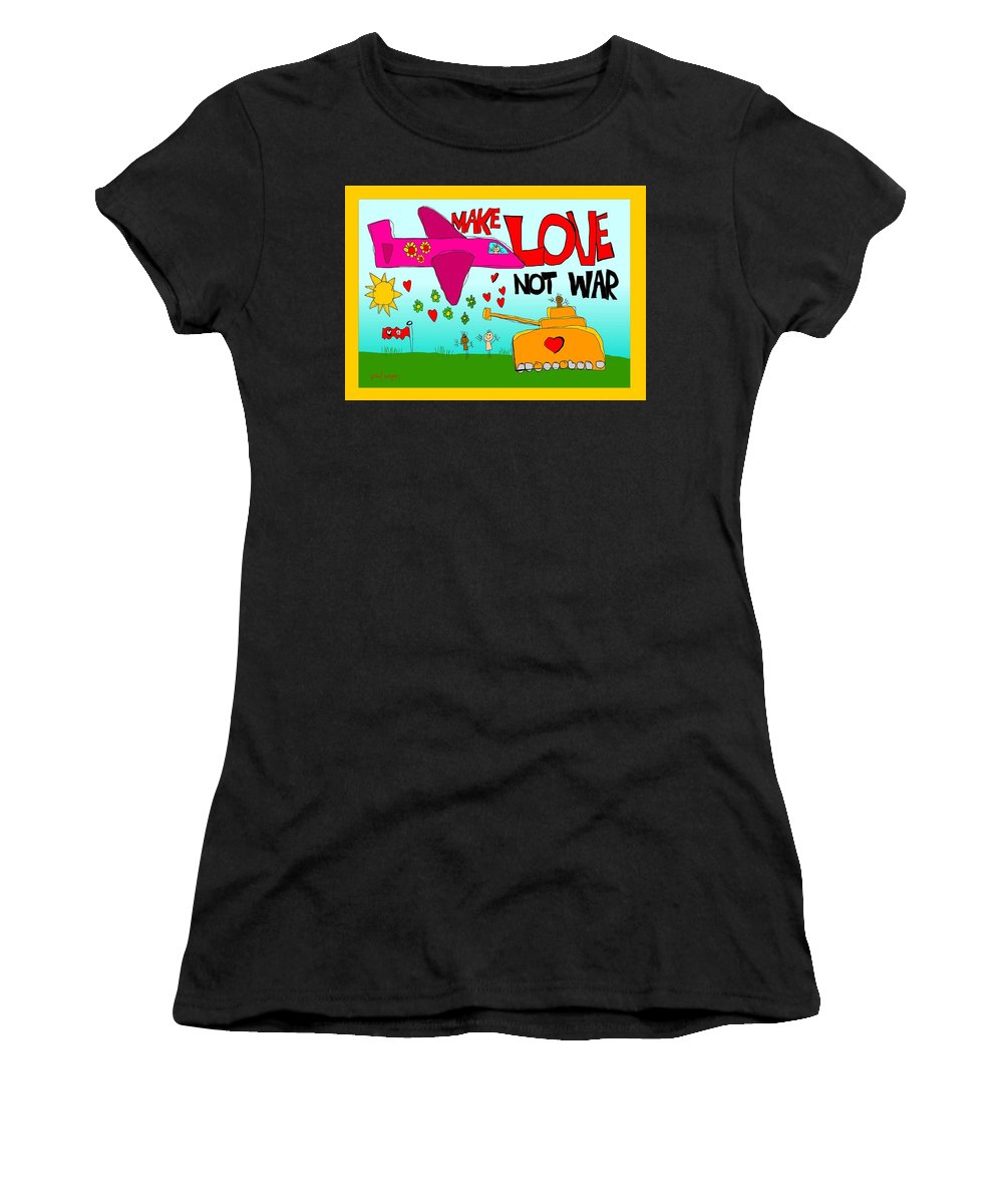 Love Women's T-Shirt (Athletic Fit) featuring the painting Make Love Not War by Paul Megens