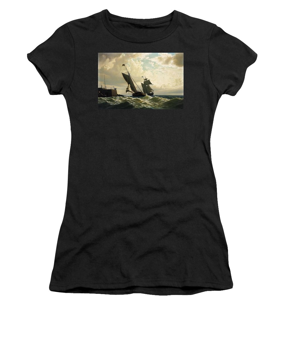 Making Harbor 1862 Women's T-Shirt (Athletic Fit) featuring the painting Making Harbor by William Bradford