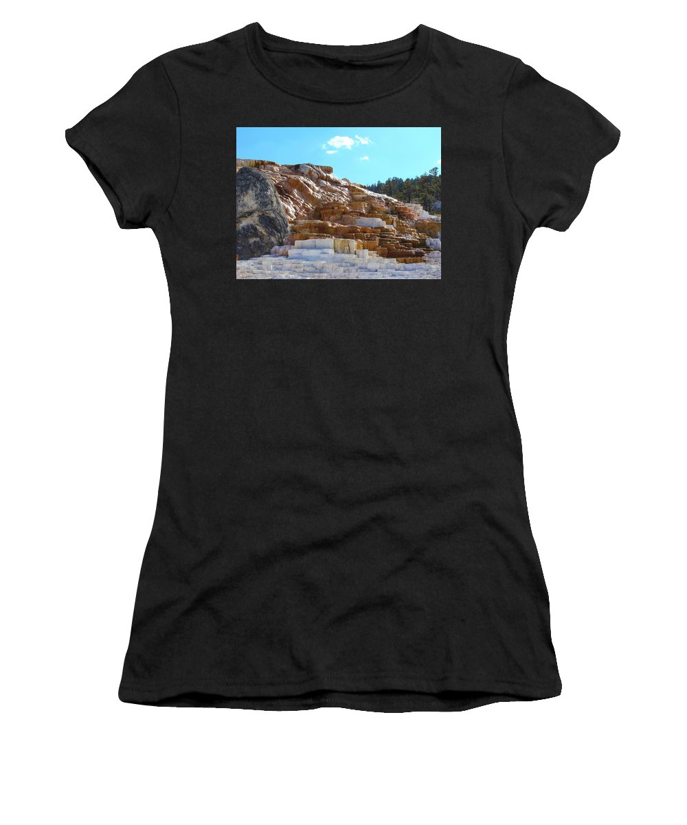 Mammoth Hot Springs Women's T-Shirt featuring the photograph Mammoth Hot Springs by Lorraine Baum