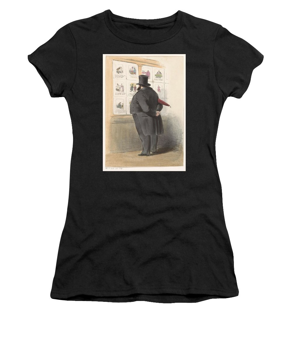 Man Women's T-Shirt (Athletic Fit) featuring the painting Man For A Showcase With Prints, Anonymous, 1810 - C. 1900 by Artistic Rifki