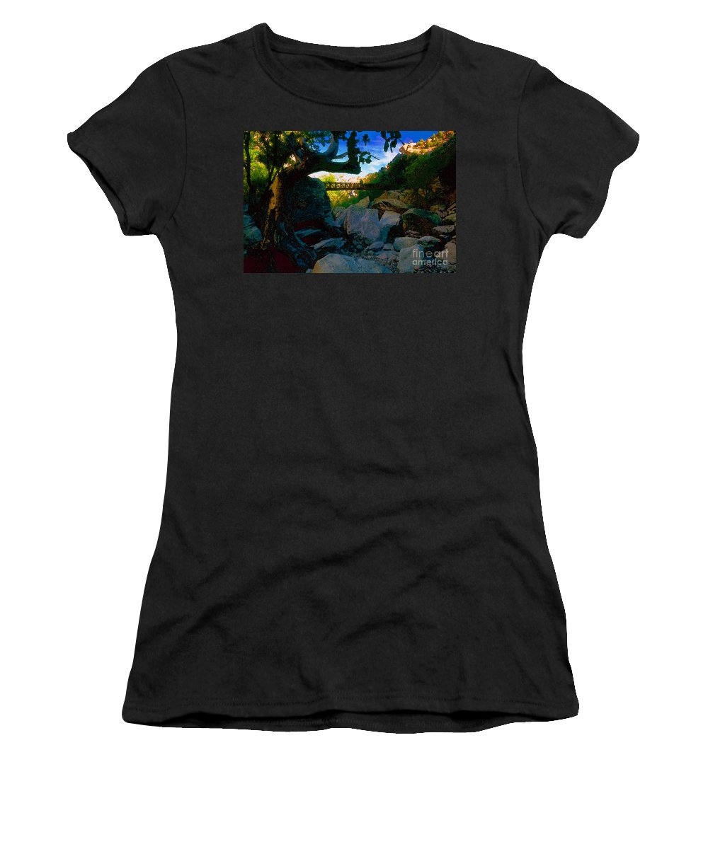 Man Women's T-Shirt featuring the painting Man On The Bridge by David Lee Thompson