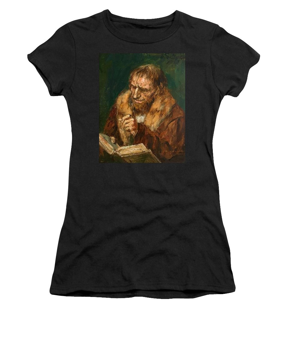 Man Women's T-Shirt (Athletic Fit) featuring the painting Man Reading 1922 by Gebhardt Eduard von