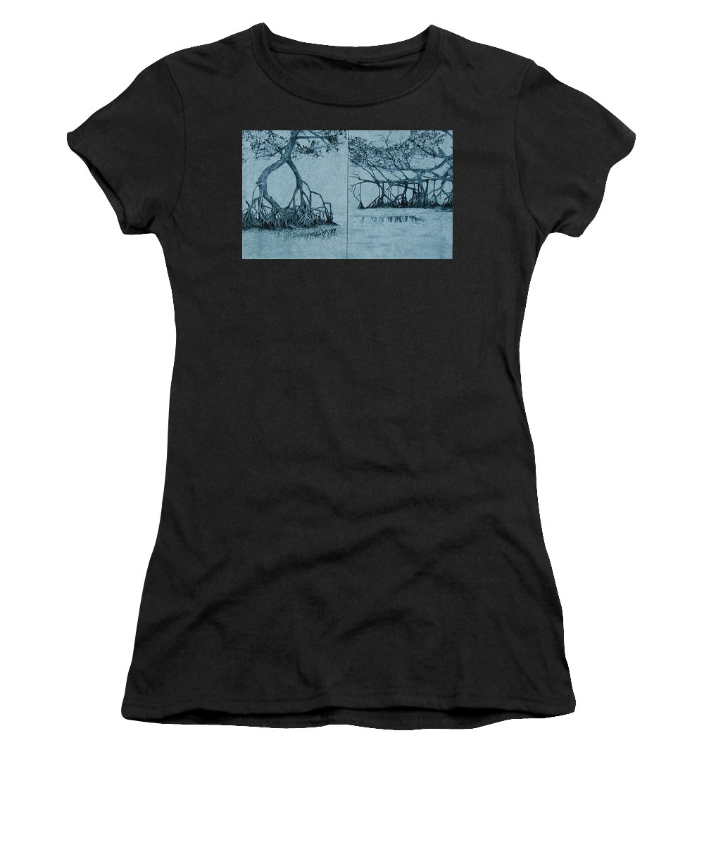 Blue Women's T-Shirt (Athletic Fit) featuring the painting Mangroves by Leah Tomaino