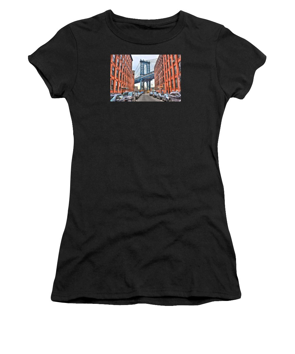 Brooklyn Women's T-Shirt featuring the photograph Manhattan Bridge Landscape From Dumbo by Randy Aveille