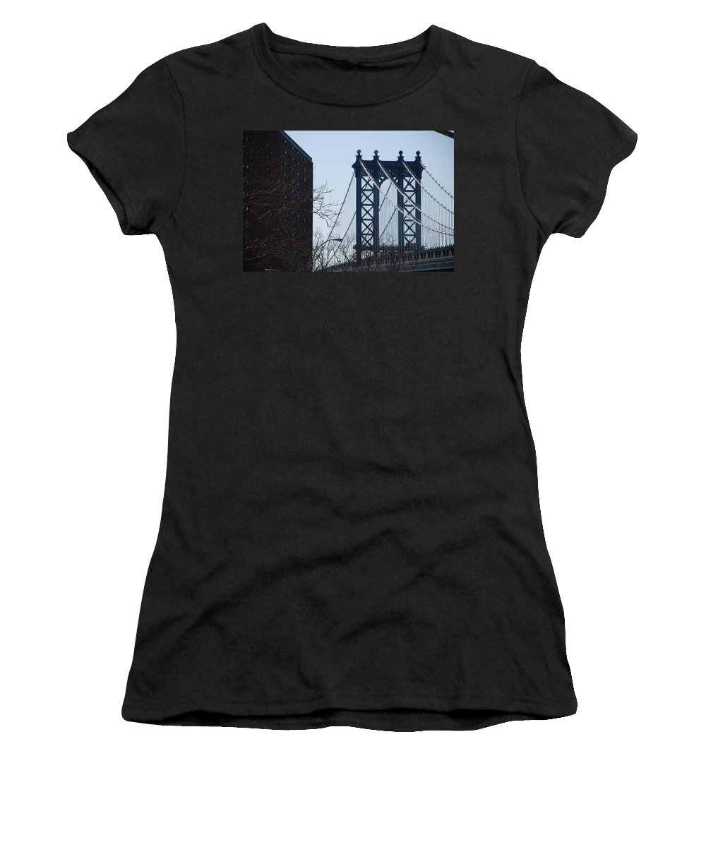 Manhattan Women's T-Shirt (Athletic Fit) featuring the photograph Manhattan Bridge by Rob Hans