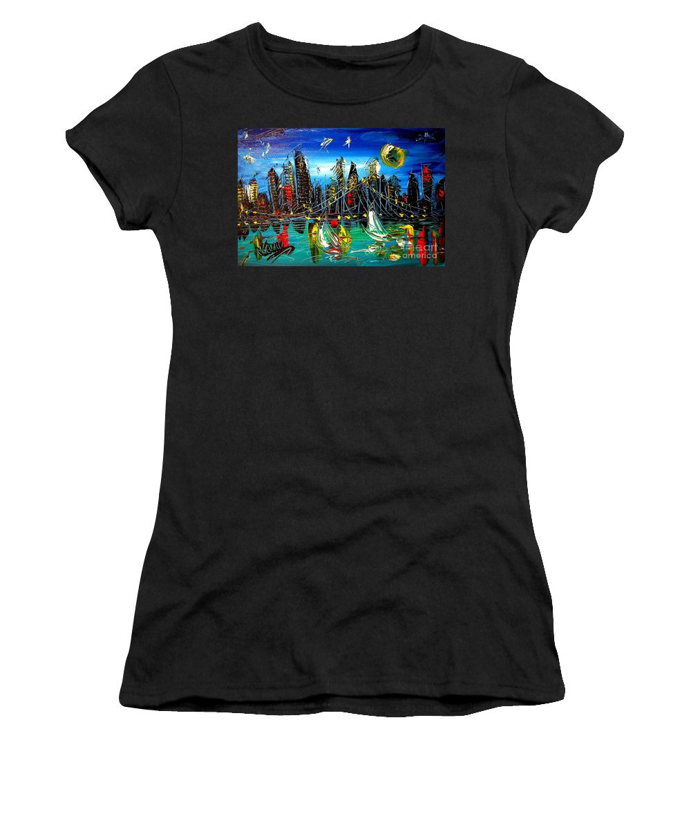 New York Women's T-Shirt (Athletic Fit) featuring the painting Manhattan Ny by Mark Kazav