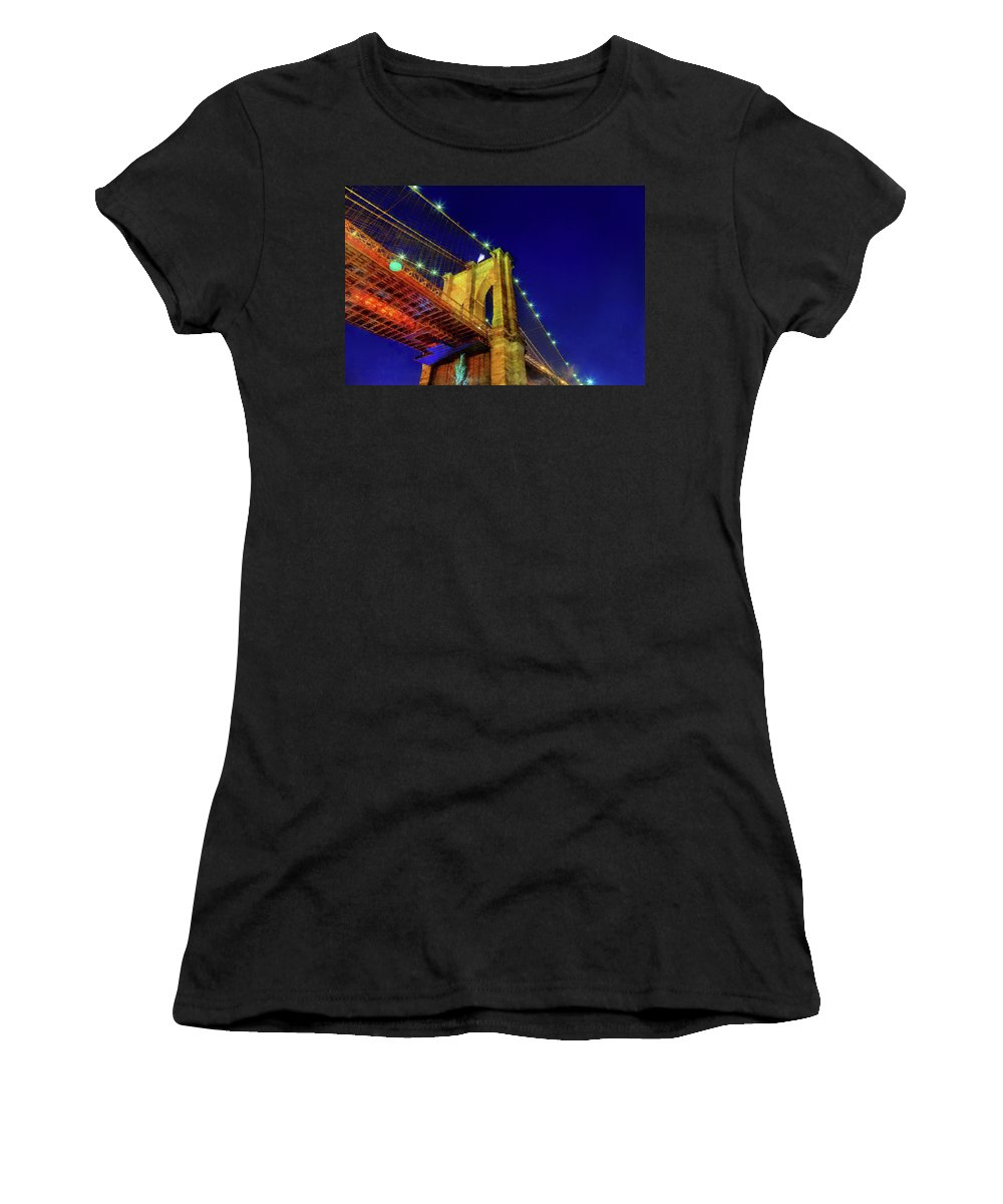 Skyline Women's T-Shirt (Athletic Fit) featuring the photograph Manhattan Skyline From The Brooklyn Bridge At Dusk by Valentyn Semenov