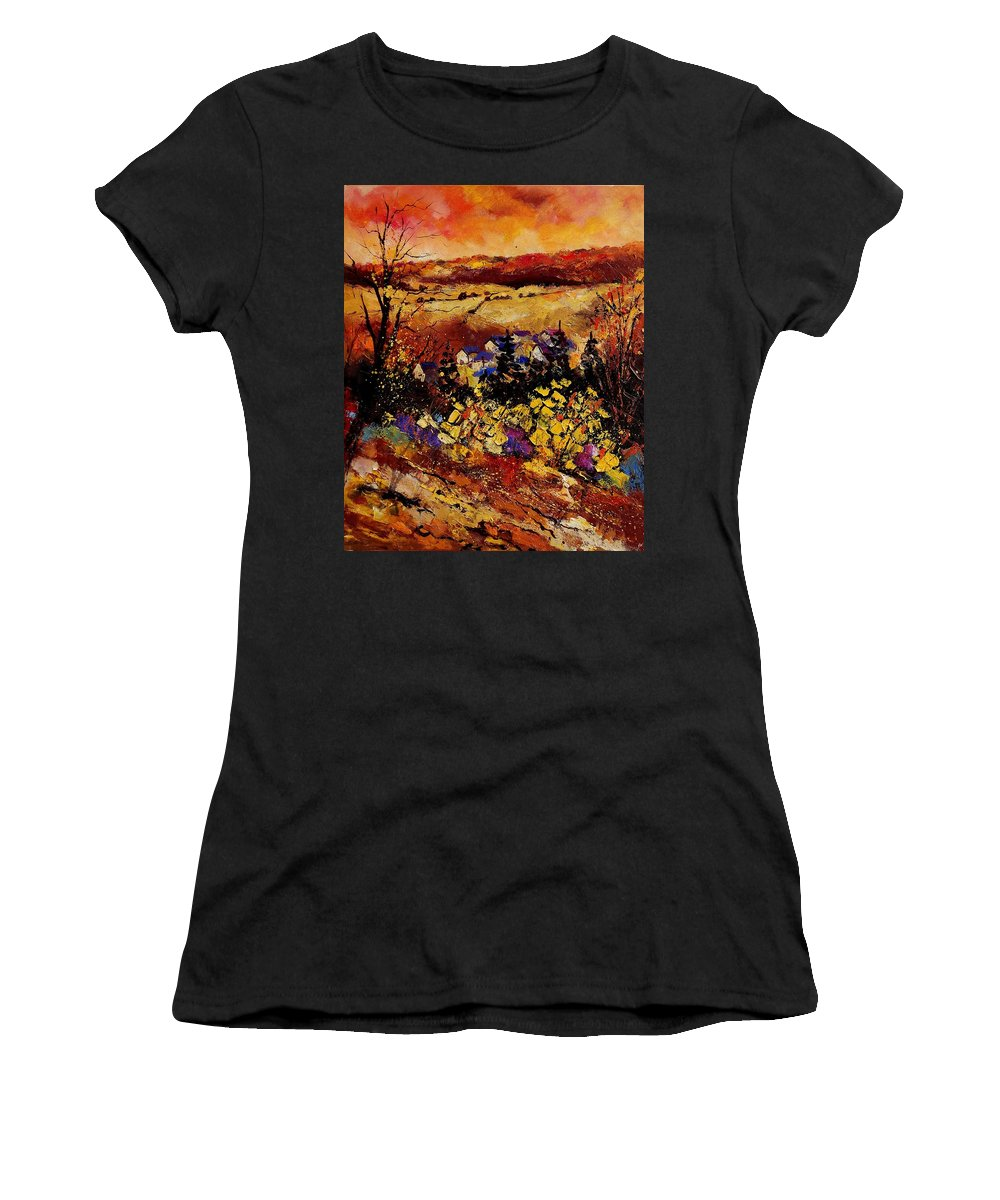 Landscape Women's T-Shirt (Athletic Fit) featuring the painting Manhay 56 by Pol Ledent