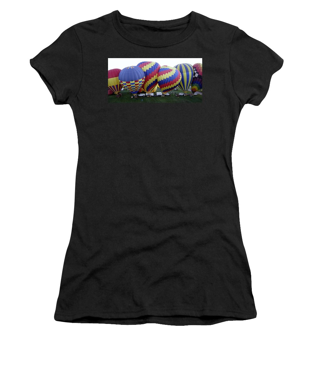Hot Air Balloons Women's T-Shirt (Athletic Fit) featuring the photograph Many Balloons by Mary Rogers