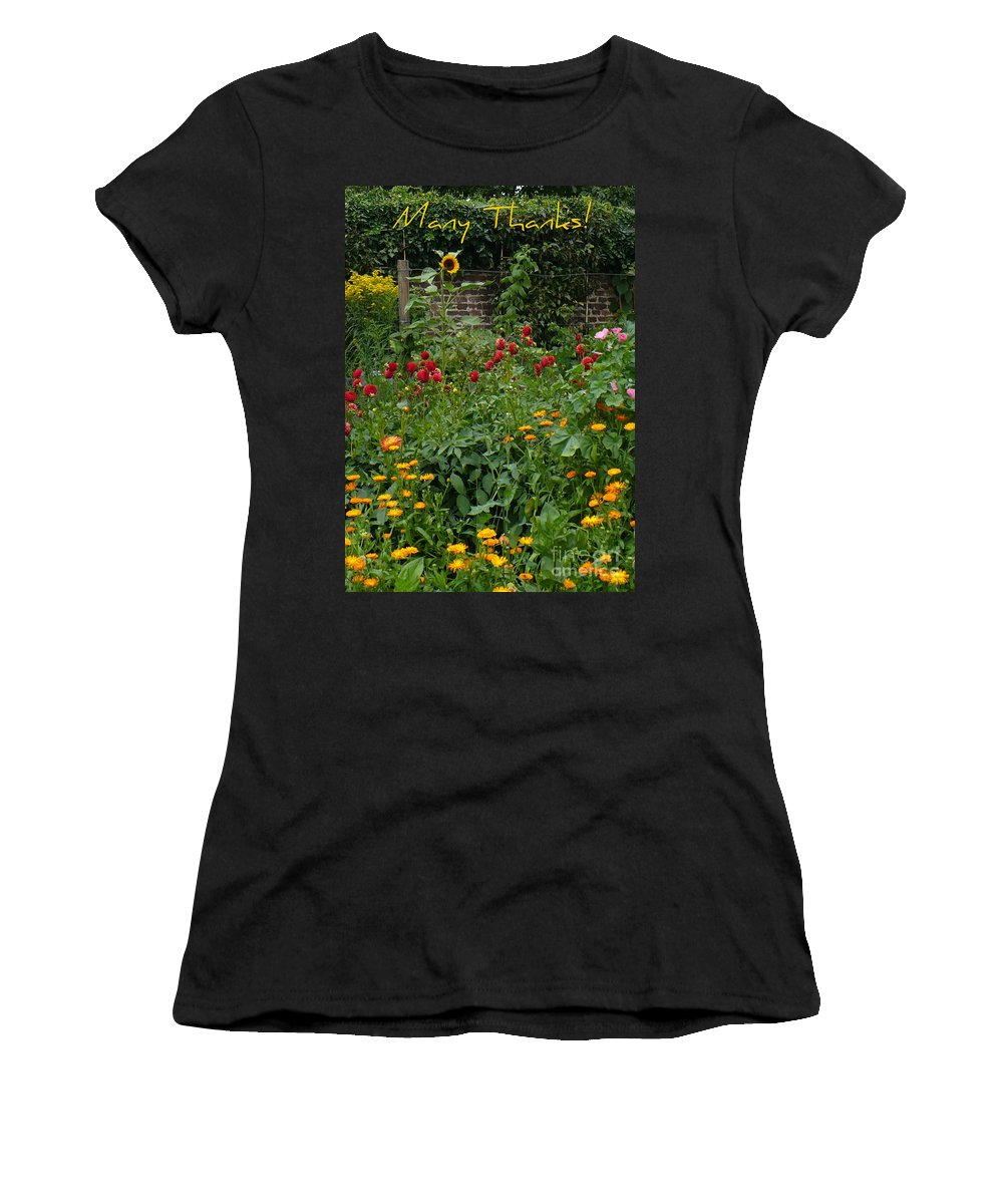 Thank You Card Women's T-Shirt (Athletic Fit) featuring the greeting card Many Thanks Card by Carol Groenen