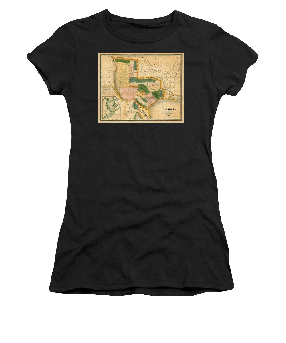 Map Of Texas Women's T-Shirt (Athletic Fit) featuring the photograph Map Of Texas 1834 by Andrew Fare