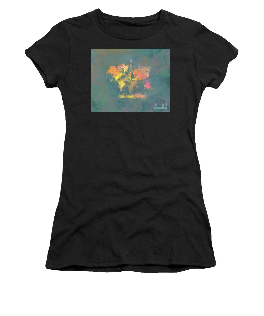 Map Of The World Women's T-Shirt (Athletic Fit) featuring the digital art Map Of The World Wind Rose 2 by Justyna JBJart