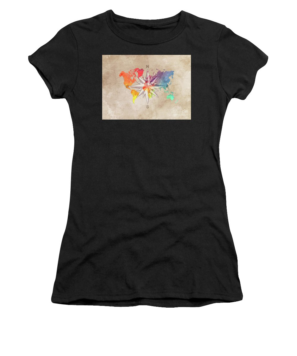 Map Of The World Women's T-Shirt (Athletic Fit) featuring the digital art Map Of The World Wind Rose 7 by Justyna JBJart