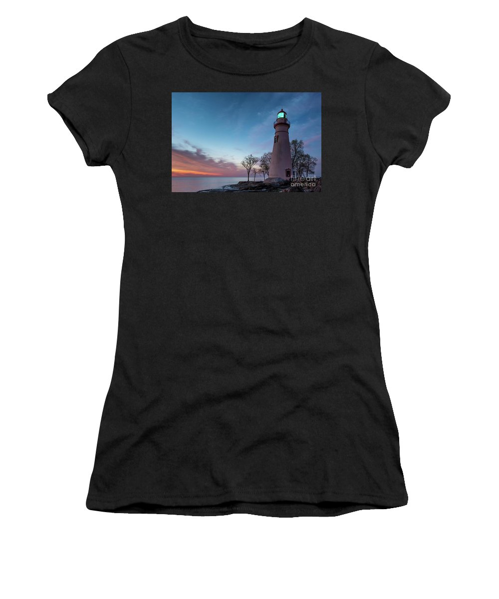 Ohio Women's T-Shirt (Athletic Fit) featuring the photograph Marblehead Dawn by Larry Knupp