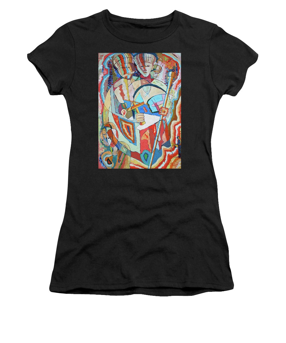 Johnpowellpaintings Women's T-Shirt (Athletic Fit) featuring the painting Marcus Garvey And Elders by John Powell