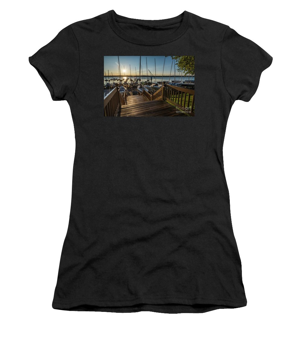 Sailing Women's T-Shirt (Athletic Fit) featuring the photograph Marina Sunrise by Joann Long