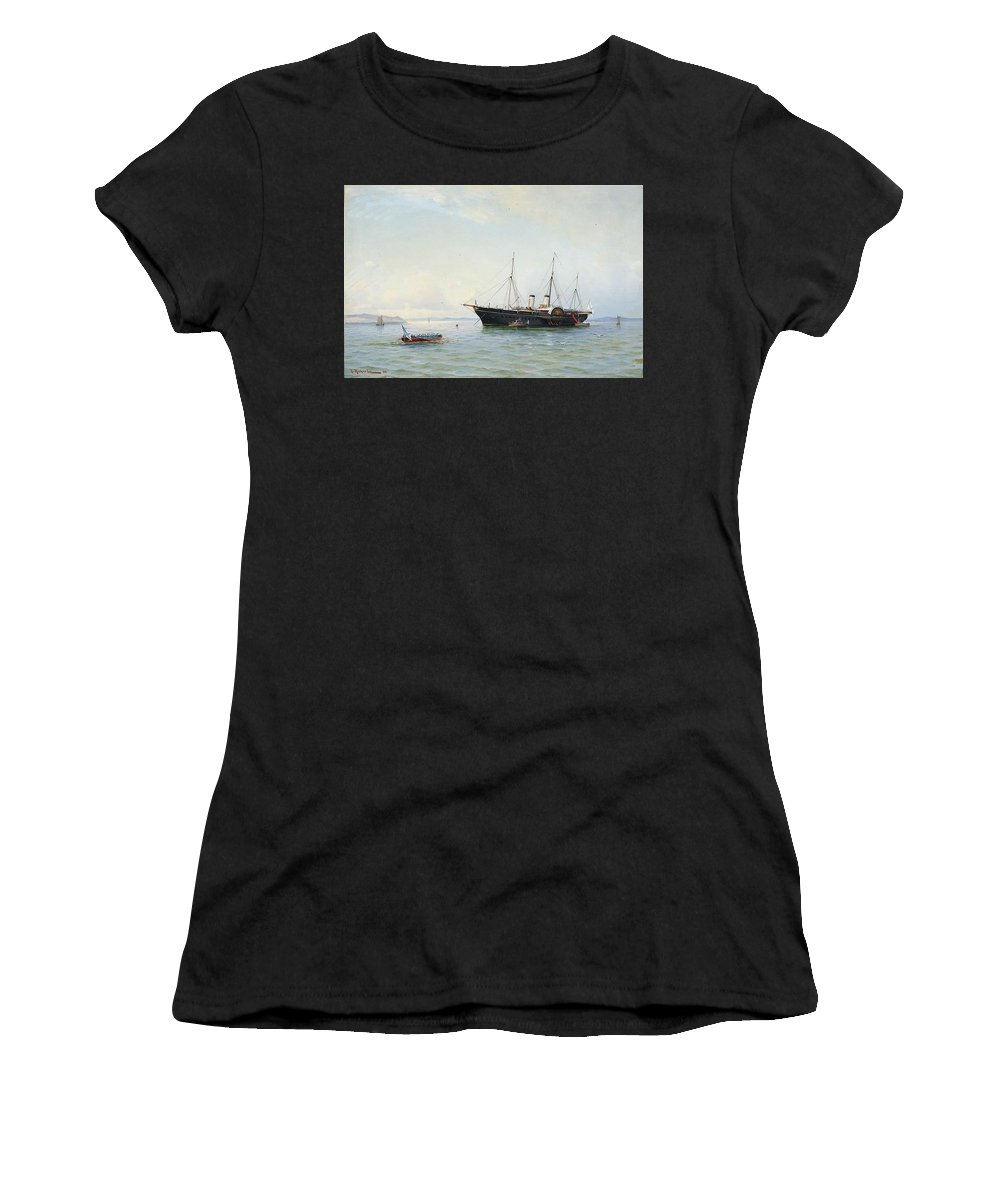 Ludvig Richarde 1862-1929 Marine Motives Women's T-Shirt (Athletic Fit) featuring the painting Marine Motives by MotionAge Designs