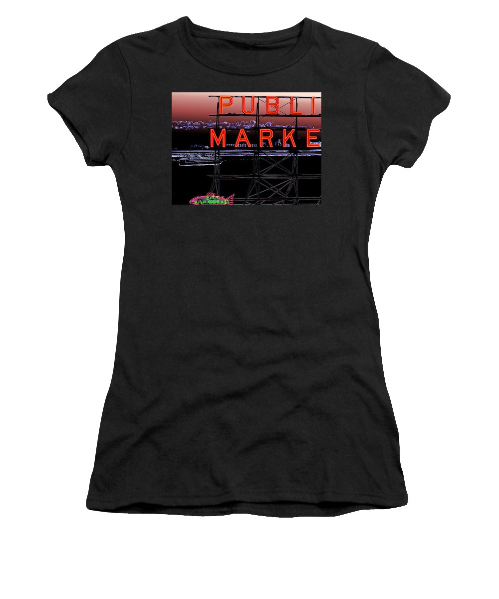 Seattle Women's T-Shirt (Athletic Fit) featuring the digital art Market Ferry 2 by Tim Allen