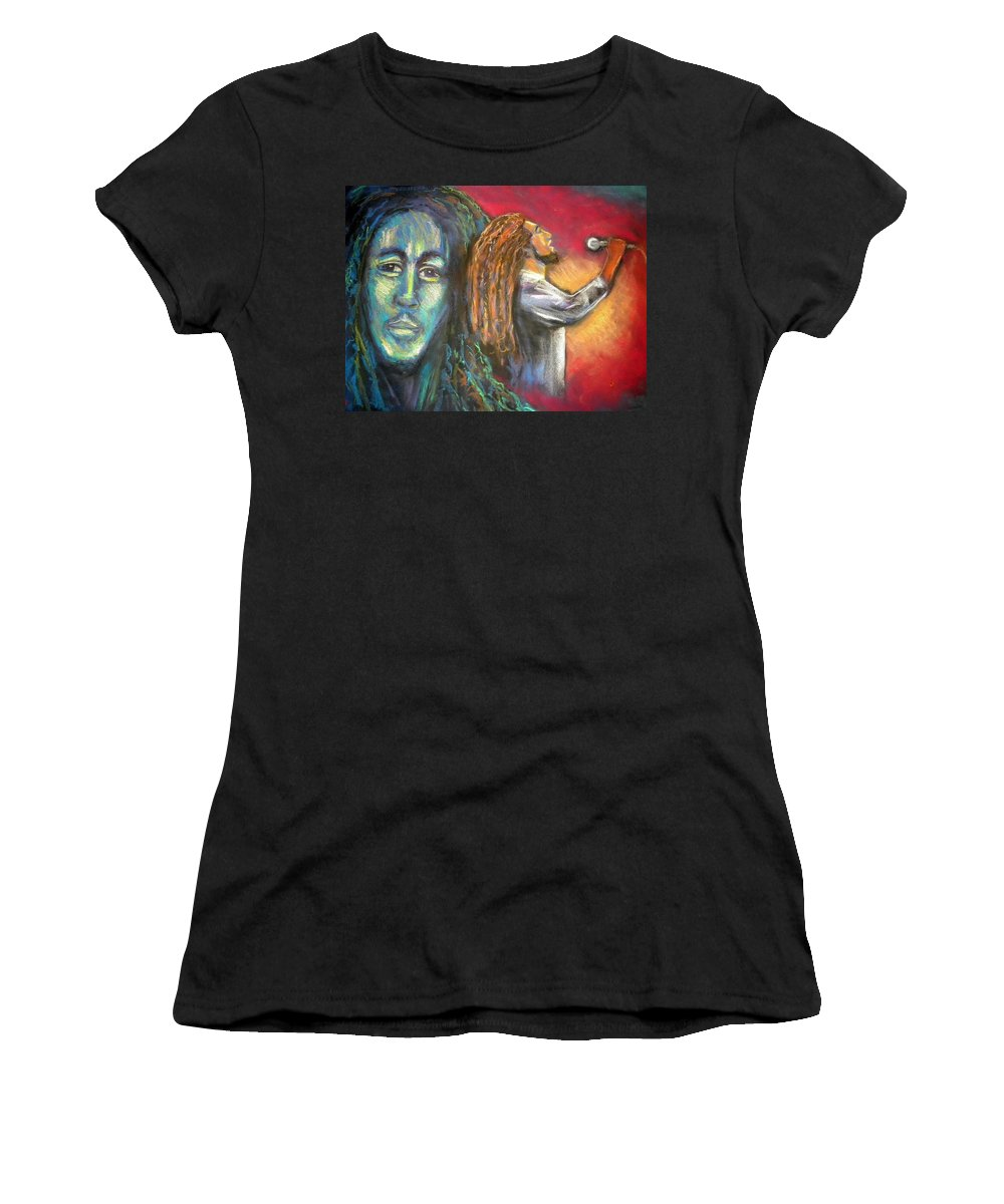Marley Women's T-Shirt (Athletic Fit) featuring the drawing Marley by Jan Gilmore