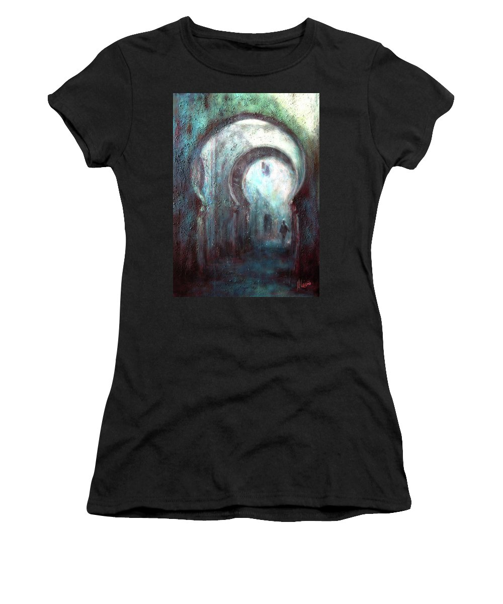 Marrakech Women's T-Shirt (Athletic Fit) featuring the painting Marrakech Street by Miquel Cazanya