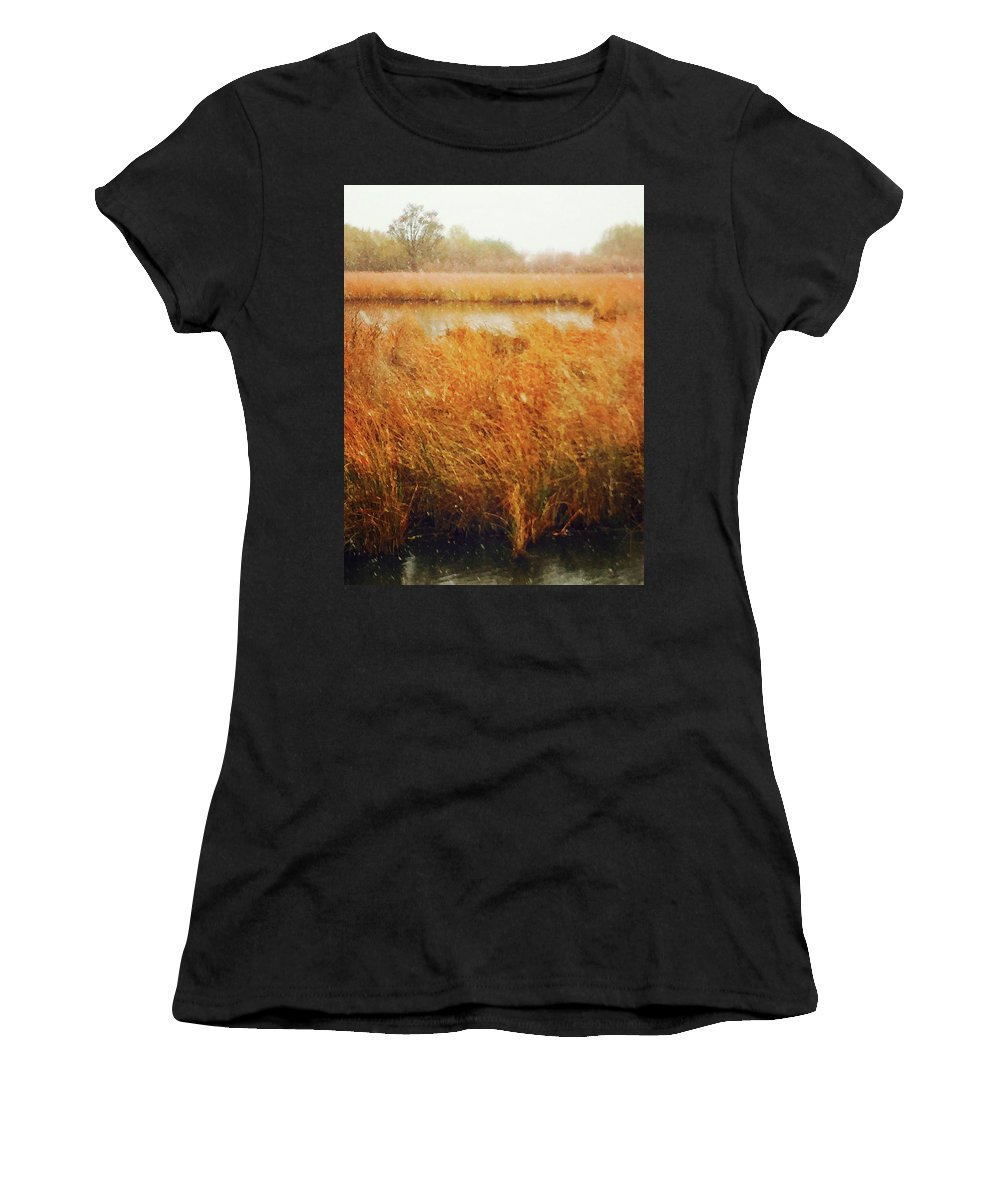 Landscape Women's T-Shirt (Athletic Fit) featuring the photograph Marsh Grass And Snow by Alan Olmstead