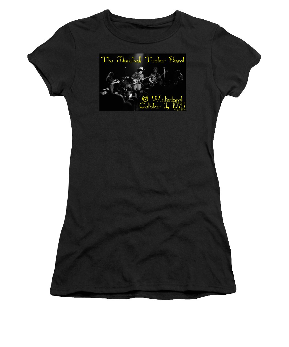 Marshall Tucker Women's T-Shirt (Athletic Fit) featuring the photograph Marshall Tucker Winterland 1975 #3 Crop 2 With Text by Ben Upham
